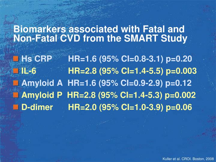 Biomarkers associated with Fatal and Non-Fatal CVD from the SMART Study