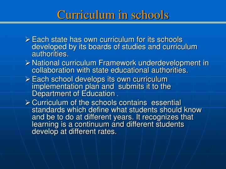 Curriculum in schools