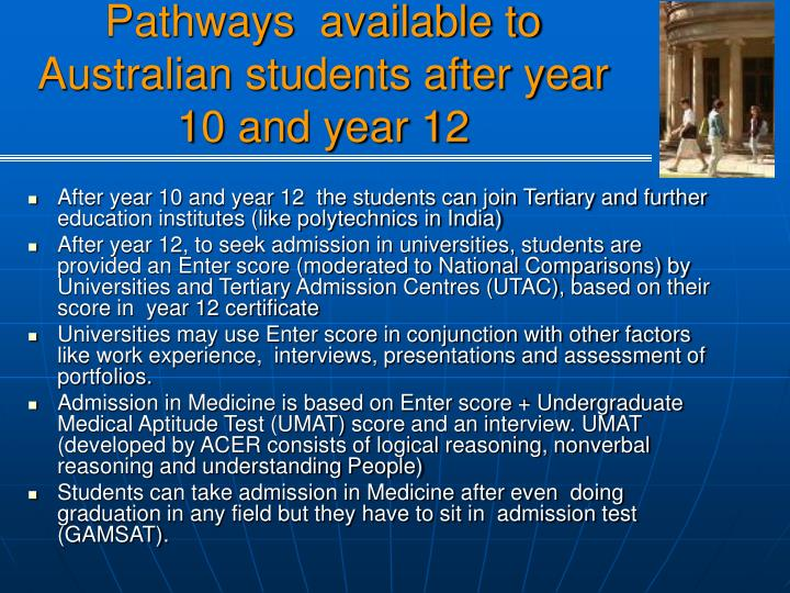 Pathways  available to Australian students after year 10 and year 12