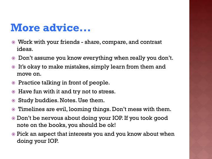 More advice...