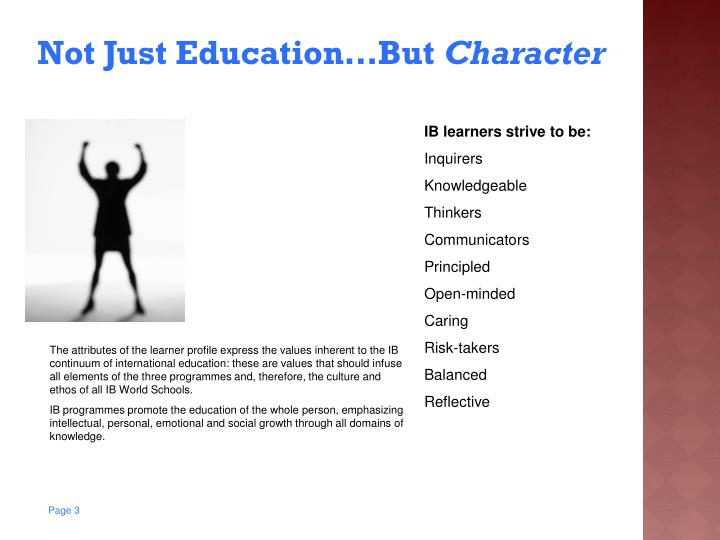 Not just education but character