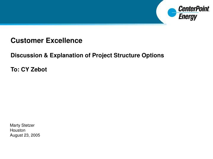 customer excellence discussion explanation of project structure options to cy zebot n.