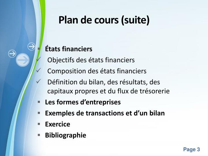 Plan de cours suite