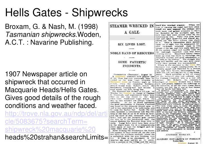 Hells Gates - Shipwrecks