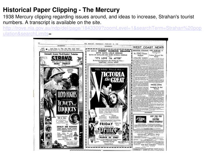 Historical Paper Clipping - The Mercury
