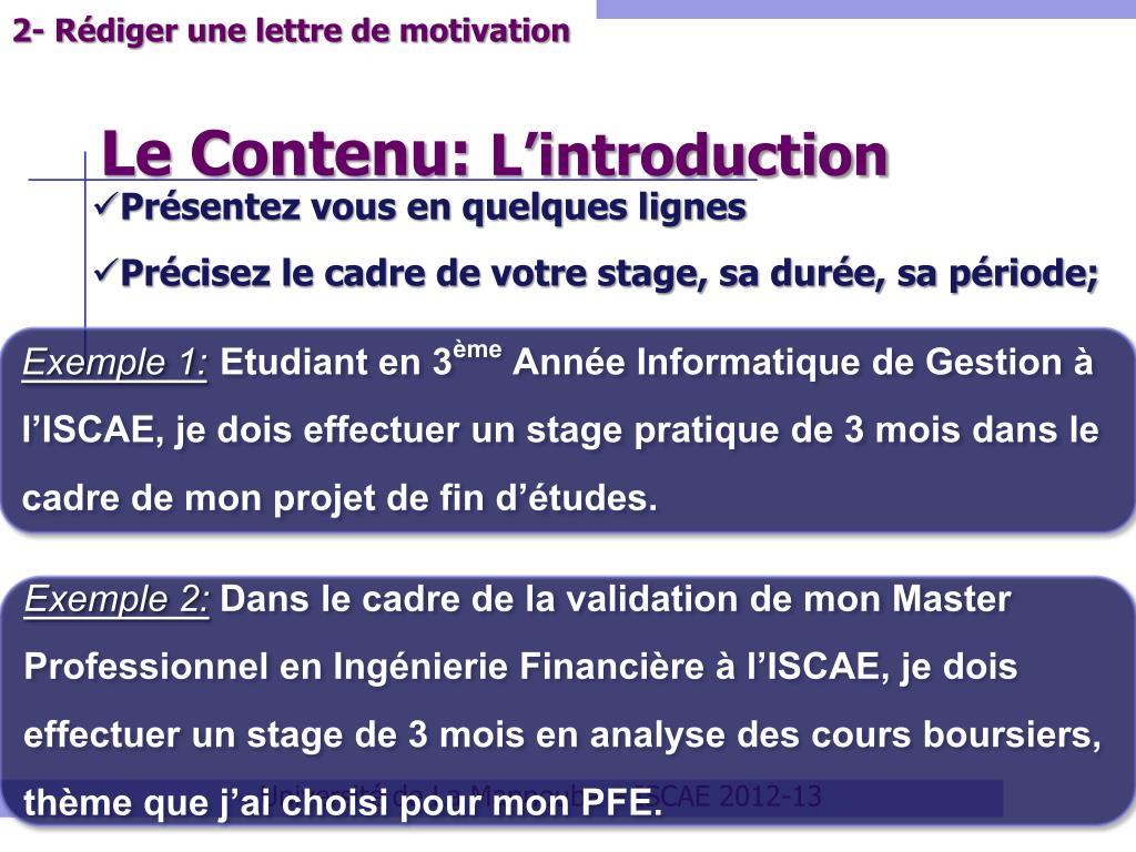 Exemple De Lettre De Motivation Pour Un Stage Pfe