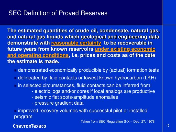 SEC Definition of Proved Reserves