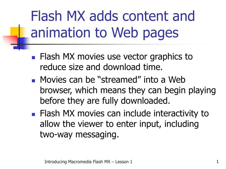 Flash mx adds content and animation to web pages