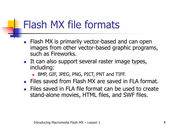 Flash MX file formats