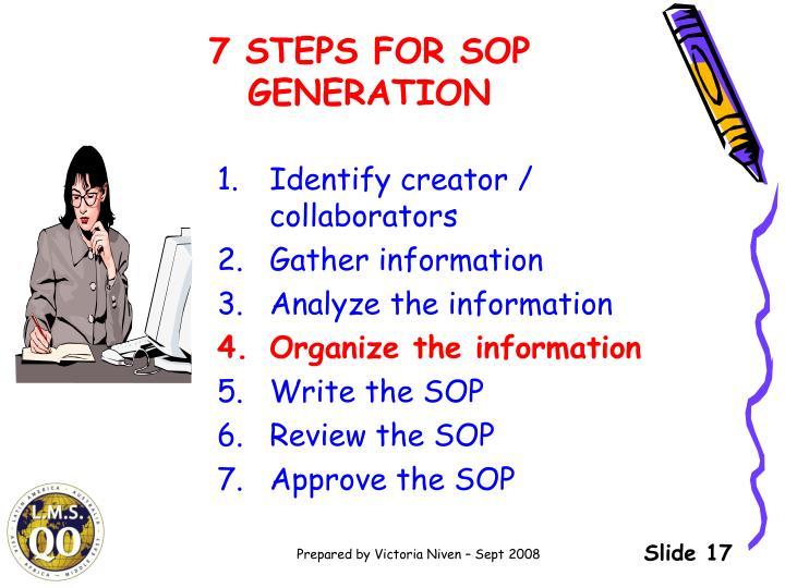 7 STEPS FOR SOP GENERATION