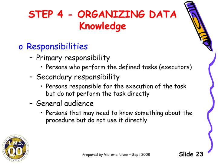 STEP 4 - ORGANIZING DATA Knowledge