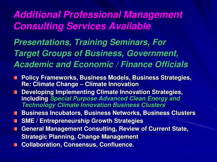 Additional Professional Management Consulting Services Available