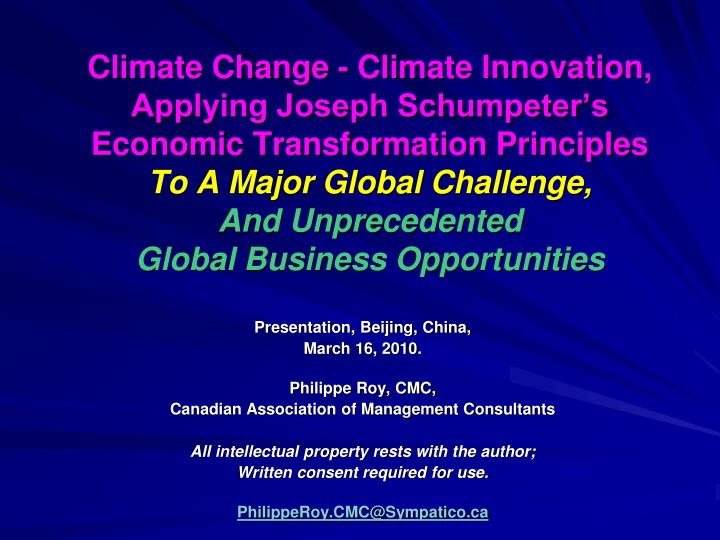 Climate Change - Climate Innovation,
