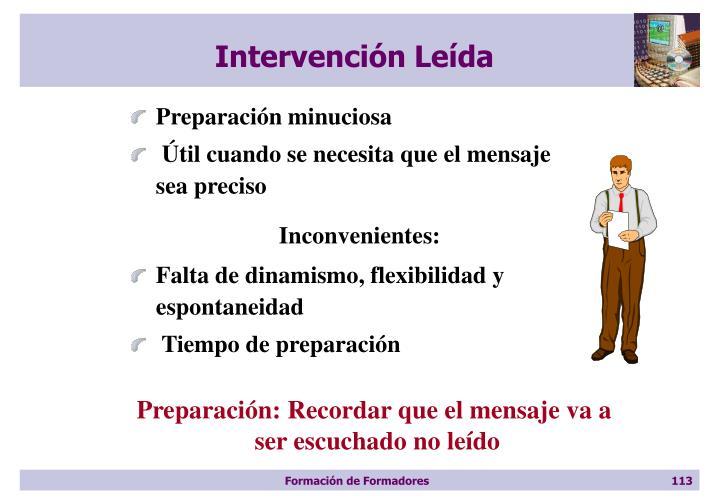 Intervención Leída
