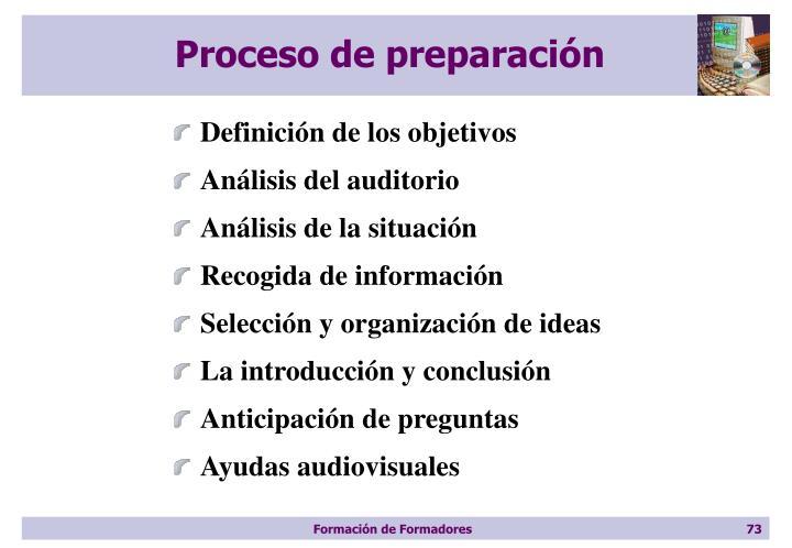 Proceso de preparación