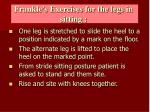 frankle s exercises for the legs in sitting