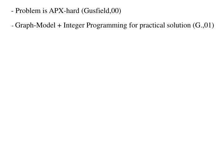 - Problem is APX-hard (Gusfield,00)