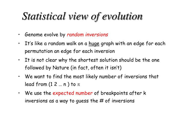 Statistical view of evolution