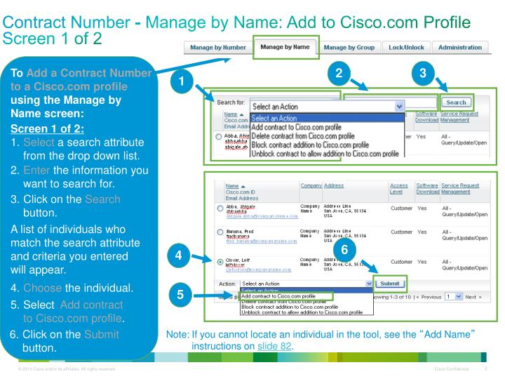 Contract number manage by name add to cisco com profile screen 1 of 2