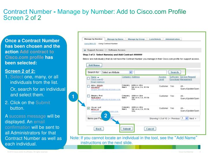 Contract number manage by number add to cisco com profile screen 2 of 2
