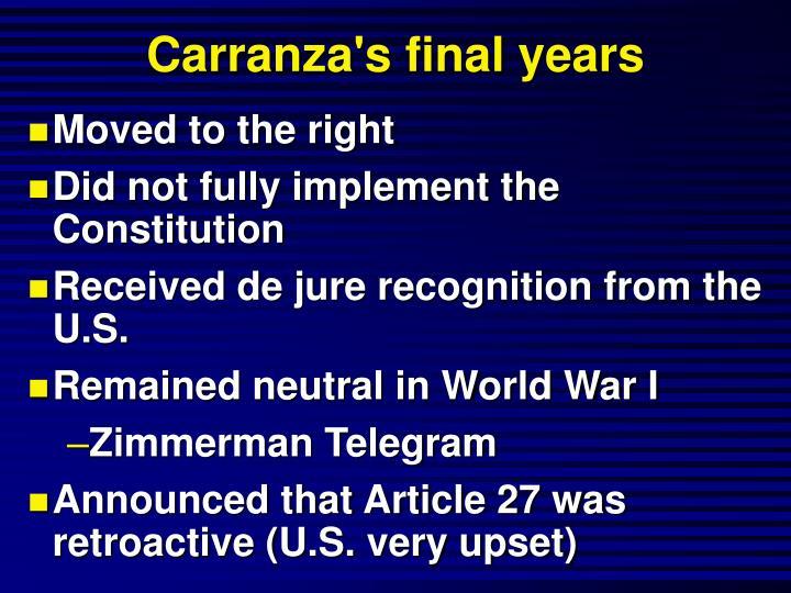 Carranza's final years