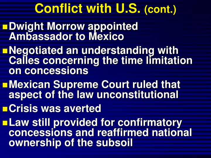 Conflict with U.S.