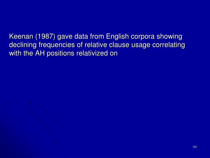 Keenan (1987) gave data from English corpora showing declining frequencies of relative clause usage correlating with the AH positions relativized on