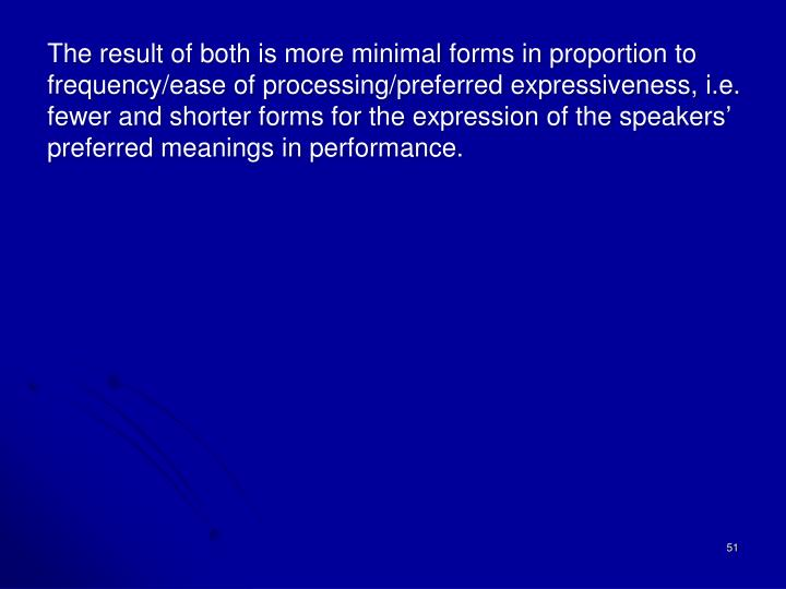 The result of both is more minimal forms in proportion to frequency/ease of processing/preferred expressiveness, i.e. fewer and shorter forms for the expression of the speakers'