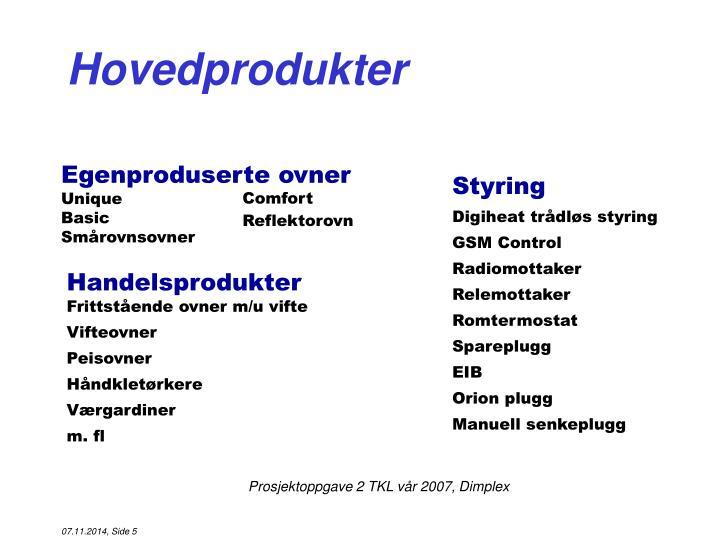 Hovedprodukter