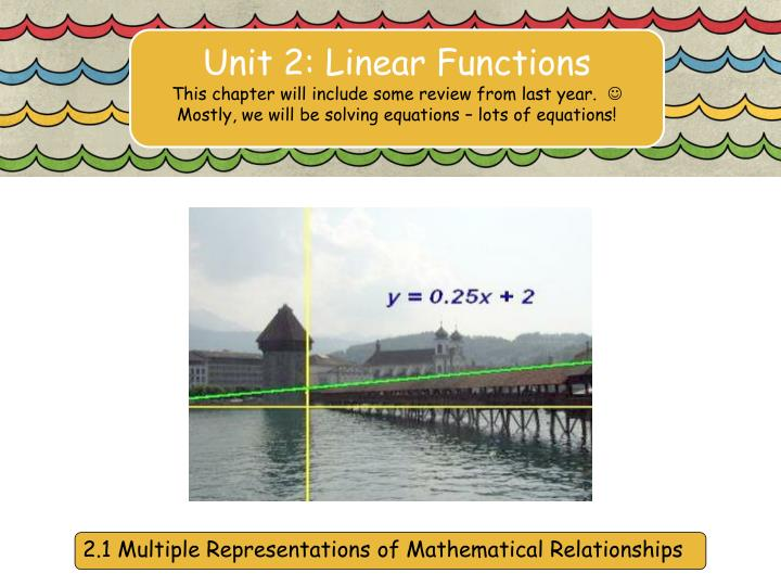 Unit 2: Linear Functions