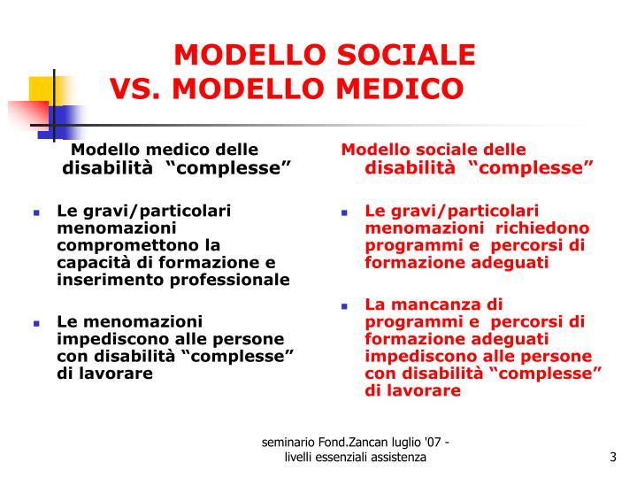 Modello sociale vs modello medico