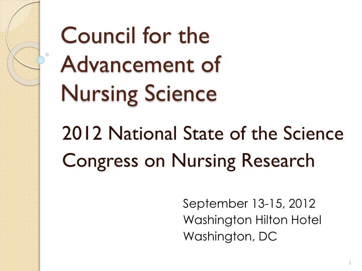 council for the advancement of nursing science n.