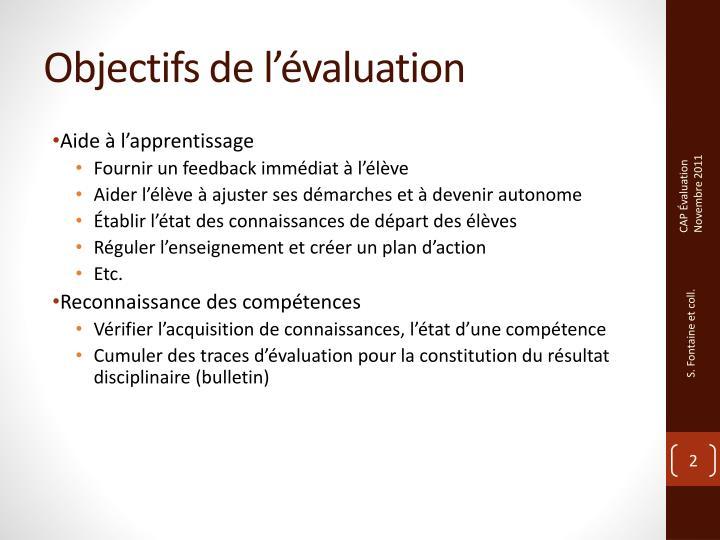 Objectifs de l valuation