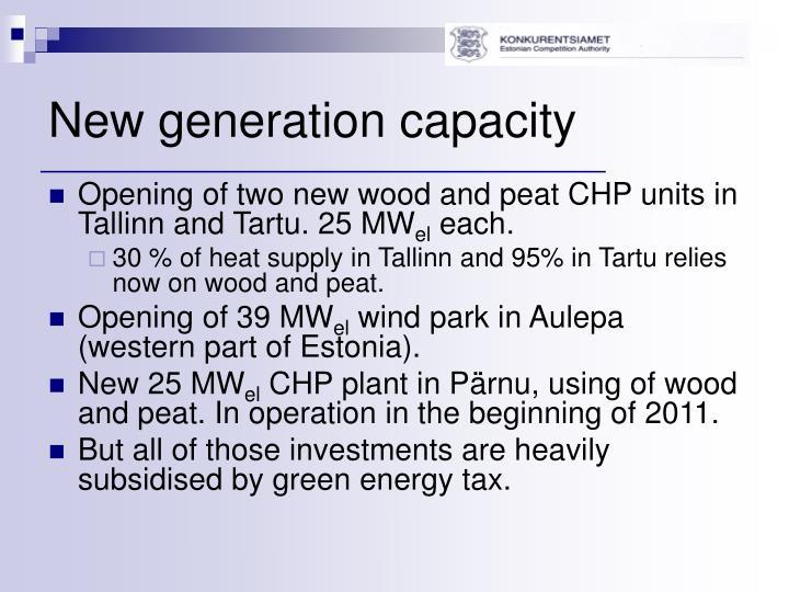 New generation capacity