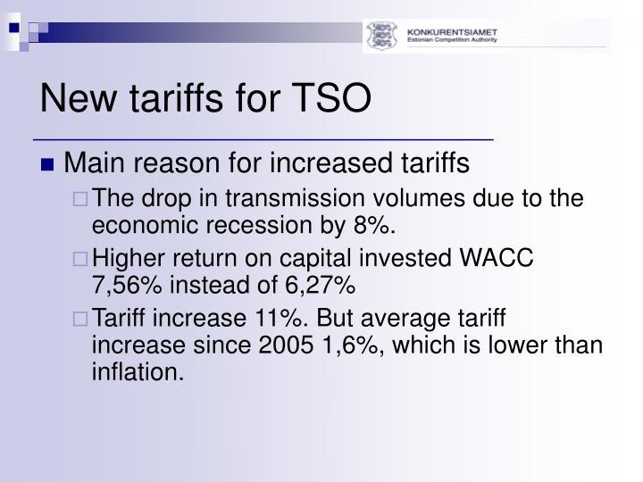 New tariffs for TSO