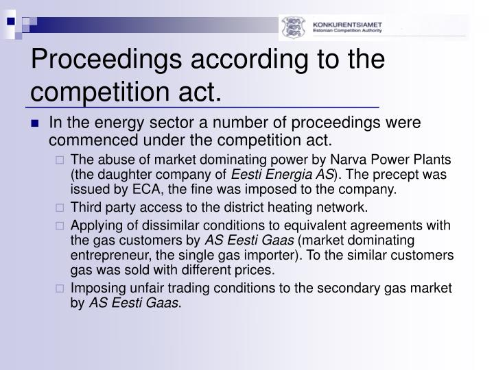 Proceedings according to the competition act.