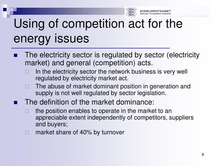 Using of competition act for the energy issues