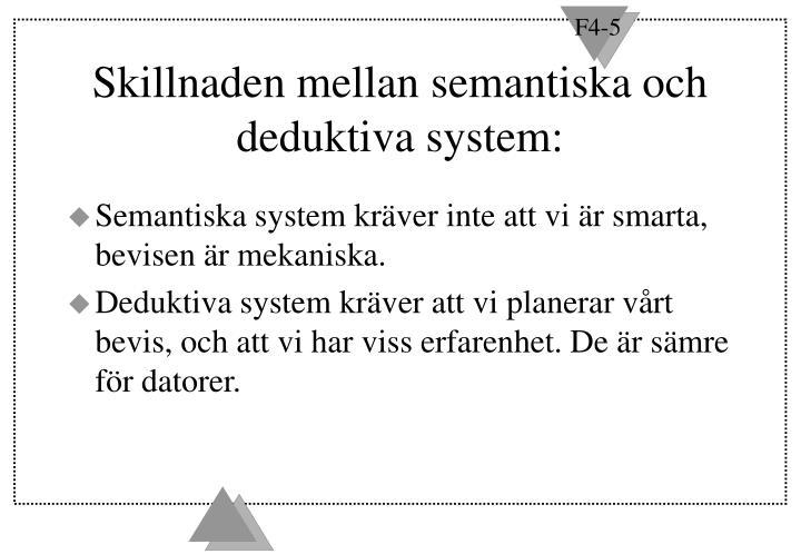 Skillnaden mellan semantiska och deduktiva system: