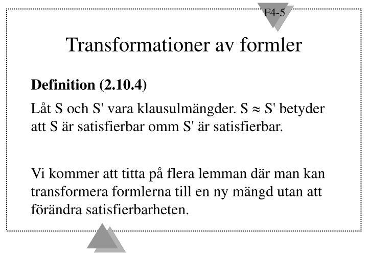 Transformationer av formler