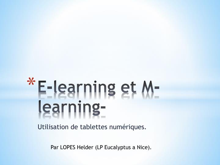 E-learning et