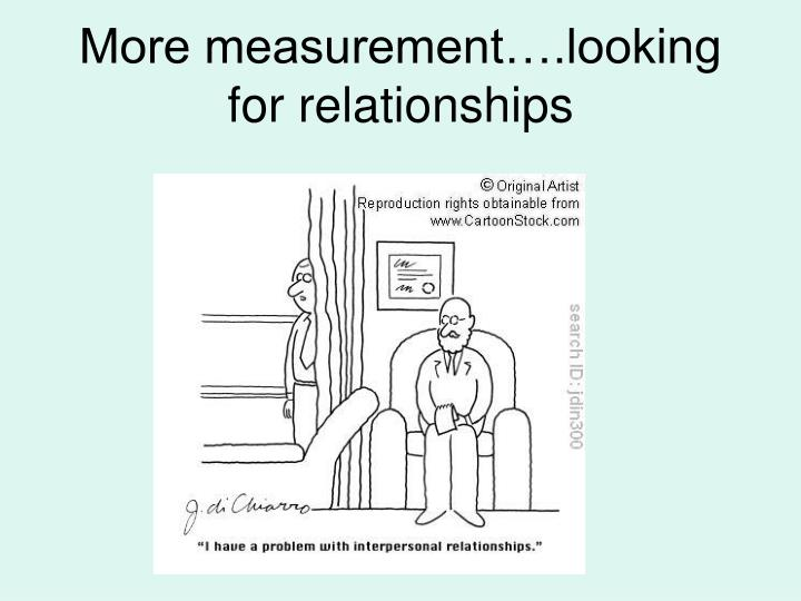 More measurement….looking for relationships