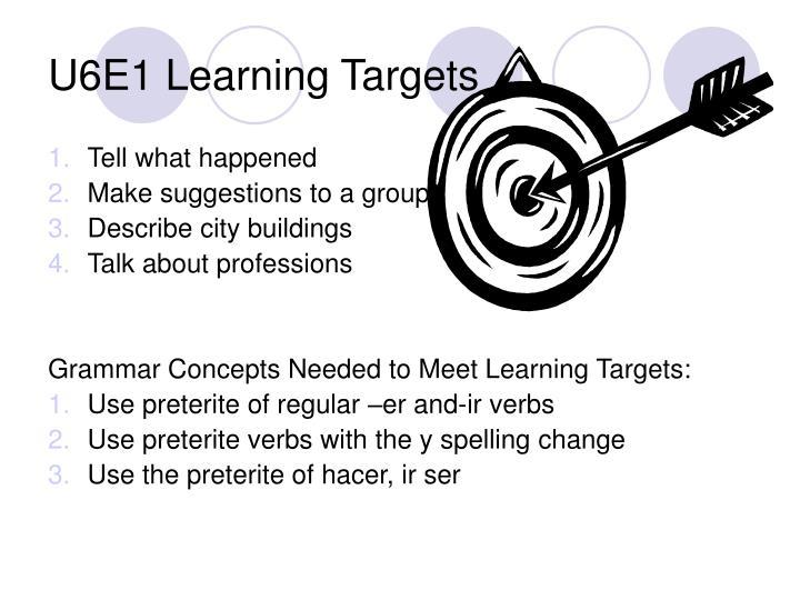U6e1 learning targets