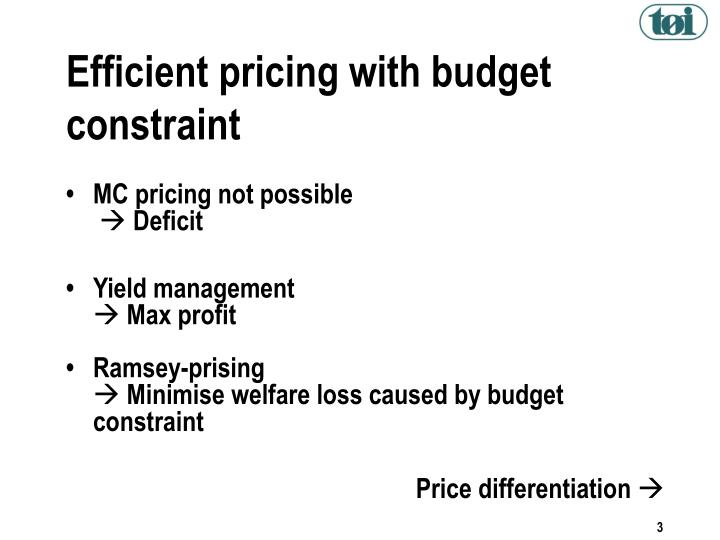 Efficient pricing with budget constraint