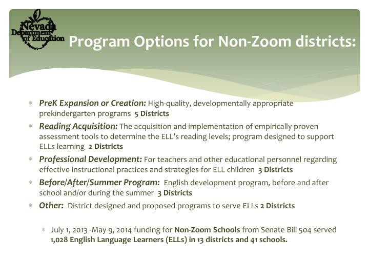 Program Options for Non-Zoom districts: