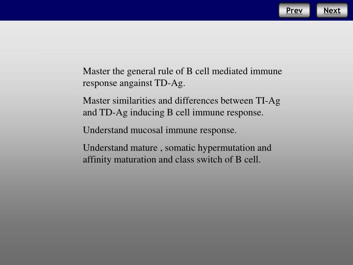 Master the general rule of B cell mediated immune response angainst TD-Ag.