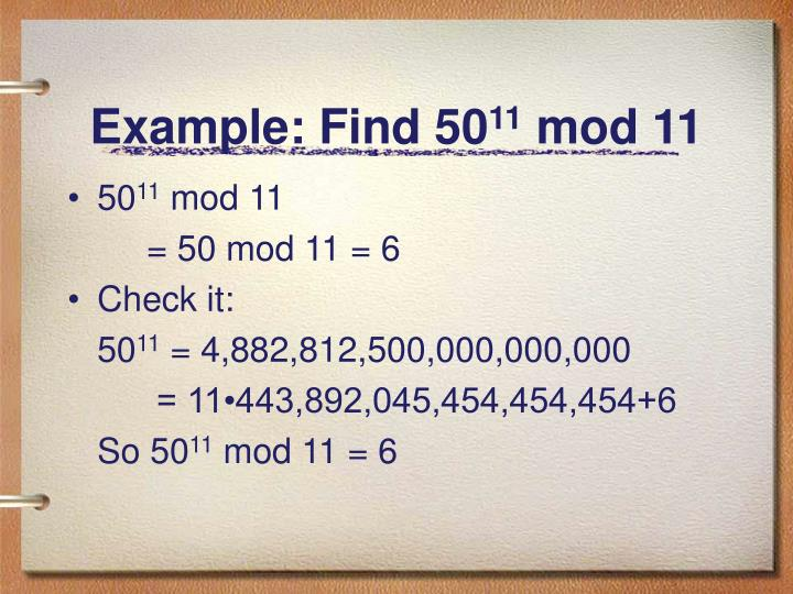 Example: Find 50