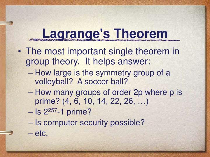 Lagrange s theorem1