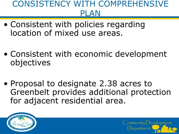CONSISTENCY WITH COMPREHENSIVE PLAN