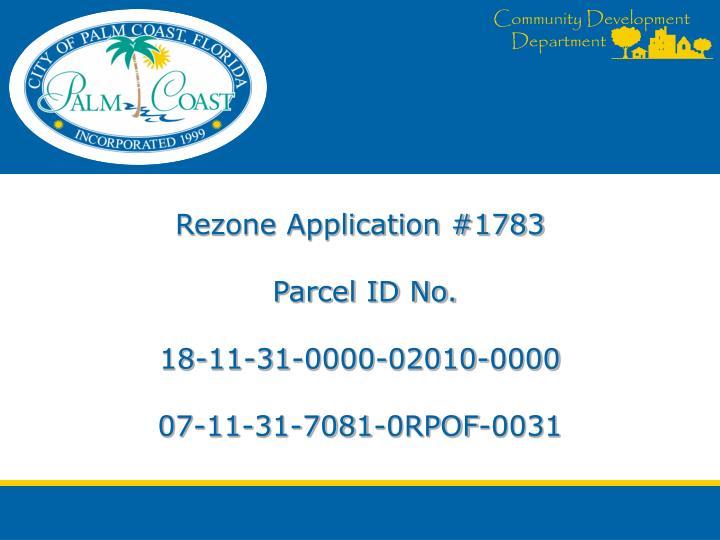 Rezone Application #1783