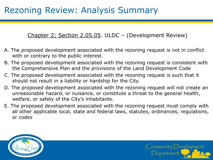 Rezoning Review: Analysis Summary